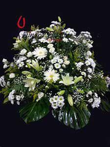 Centro funerario flor blanca