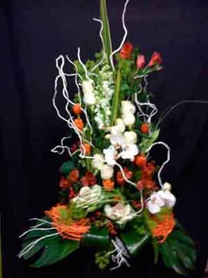 Centro flor con orquídeas