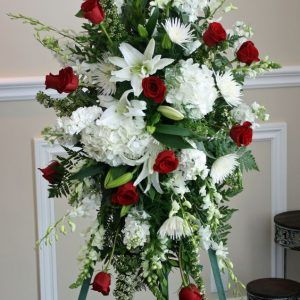 Palma funeraria rojo blanco