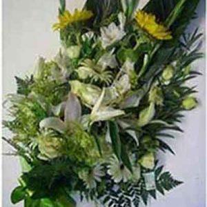 Ramo funerario rosas blancas y amarillas