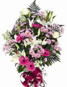 Ramo funerario tonos rosas