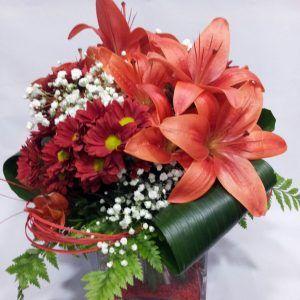 Centro flores en cristal