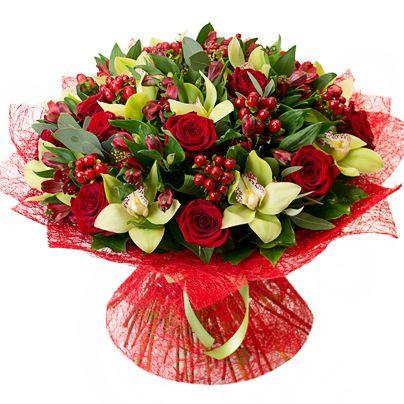 Ramo rosas y orquideas